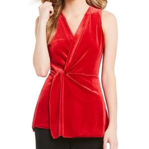 NWT H Halston red velvet surplice twist top
